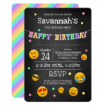 Cute Emoji Chalkboard Birthday Party Invitation