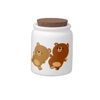 Cute Facetious Cartoon Bears Candy Jar