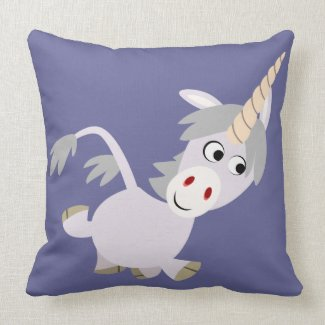 Cute Facetious Cartoon Unicorn Pillow