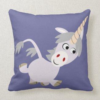 Cute Facetious Cartoon Unicorn Pillow