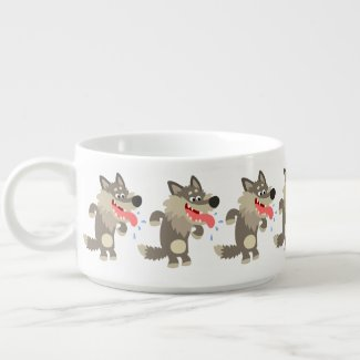 Cute Famished Cartoon Wolf Chili Bowl