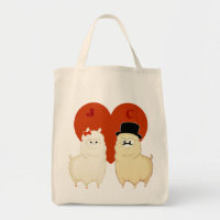 Cute Fancy Alpaca Couple with initials Tote Bag