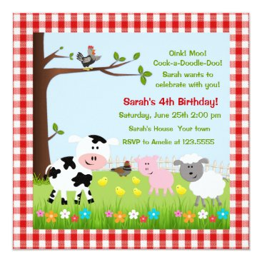 Cute Farm Animals Birthday Party Invitations