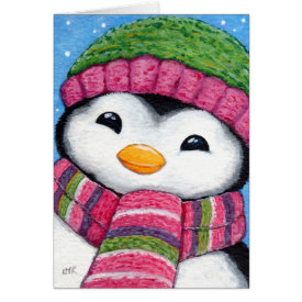 Cute Festive Penguin Chick Christmas Card