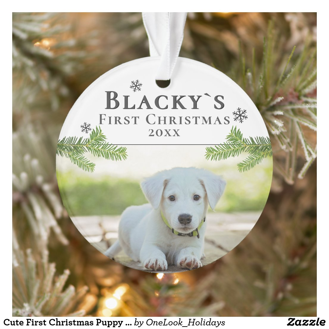 Cute First Christmas Puppy Christmas Photo Ornament