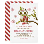 Cute Floral Christmas Owl Holiday Party Invitation