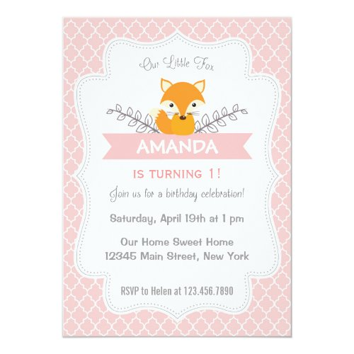 Cute Fox Birthday Invitation Pink