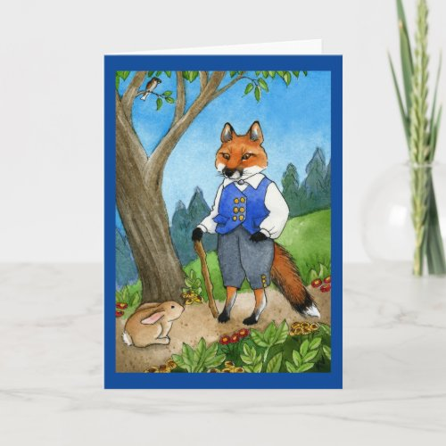 Cute fox, bunny rabbit greeting card