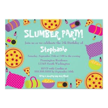 Cute fun girl's birthday slumber party invitation