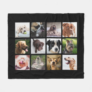 Cute & Funny Dogs Photo Collage fleece blanket
