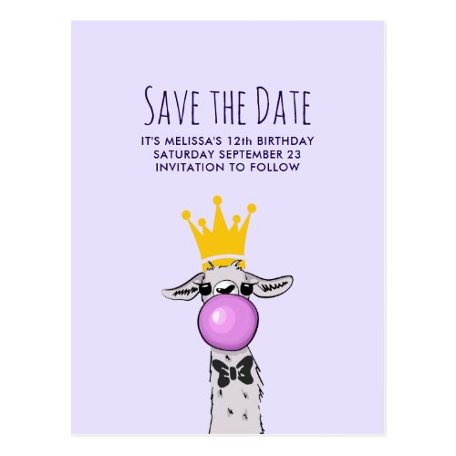 Cute Funny Llama Illustration Party Save the Date Postcard