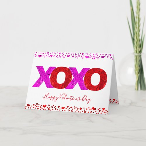 "Cute, Giant Red & Pink Foil ""XOXO"" Valentine's Day Holiday Card"