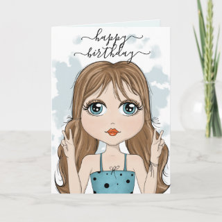 Cute Girl Peace Graphic Happy Birthday Card