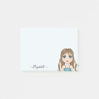 Cute Girl Peace Graphic Illustration Add Name Post-it Notes