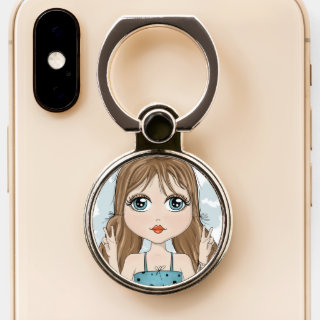Cute Girl Peace Graphic Illustration Phone Ring Stand
