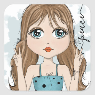 Cute Girl Peace Graphic Illustration Square Sticker