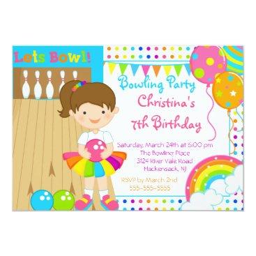 Cute Girls Bowling Birthday Party Invitation