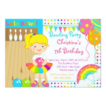 Cute Girls Bowling Birthday Party Invitation
