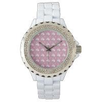 Cute Girly Pink Unicorn Flower Emoji Pattern Wrist Watch