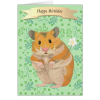 Cute Golden Hamster Holding a Flower Card