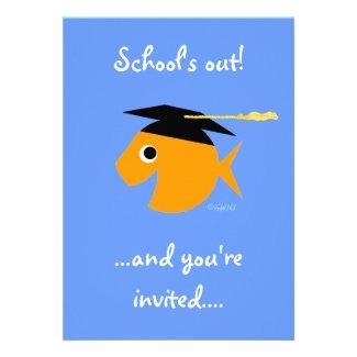 Cute Goldfish Graduation Pool Party Invitations