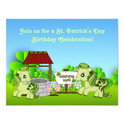 Cute Green Ponies St Patrick's Day Horse Birthday Invitation
