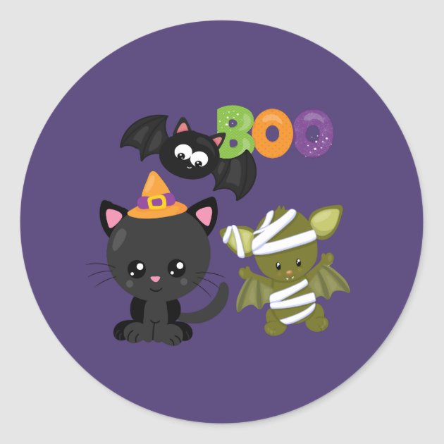 Cute Halloween Cat Bat Mummy Boo Classic Round Sticker Zazzle Com