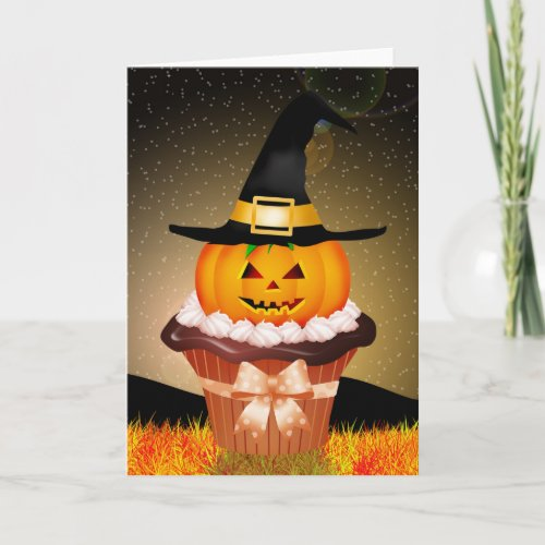 Cute Halloween Cupcake Greeting Card
