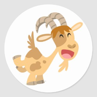 Cute Happy Cartoon Goat Sticker sticker