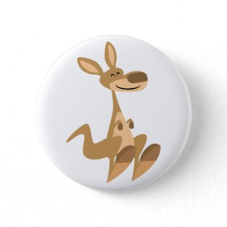 Cute Happy Cartoon Kangaroo Button Badge button