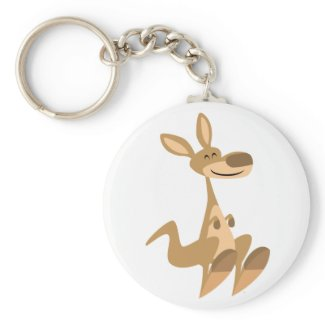 Cute Happy Cartoon Kangaroo Keychain keychain