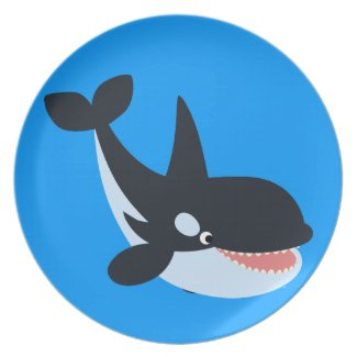 Cute Happy Cartoon Killer Whale Plate
