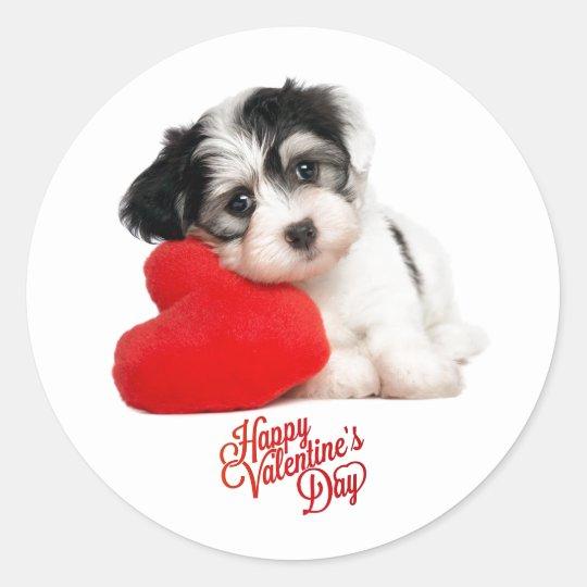 Cute Happy Valentines Day Puppy Classic Round Sticker