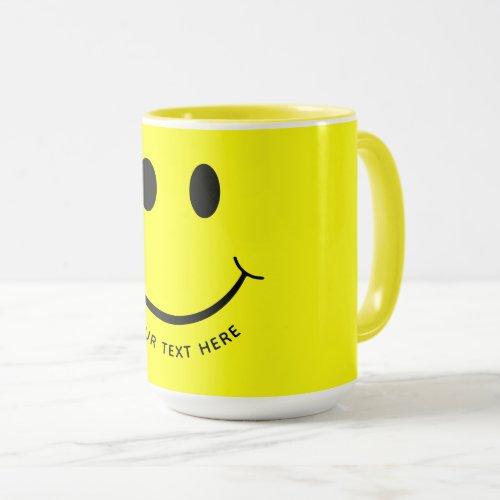 Cute Happy Yellow Face Add Text | Bottom Mug