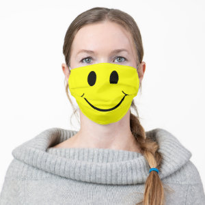 Cute Happy Yellow Face Adult Cloth Face Mask