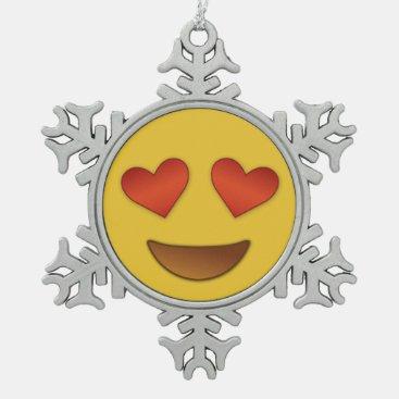 Cute Hearty Eyes Emoji Snowflake Pewter Christmas Ornament