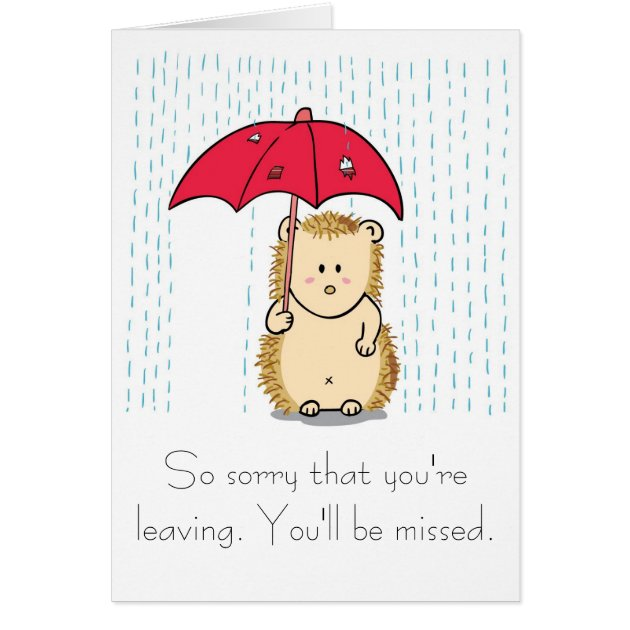 Cute Hedgehog Cartoon Farewell Card Zazzle Com