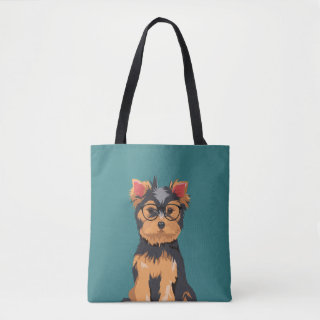 Cute Hipster Little Yorkshire Terrier Tote Bag