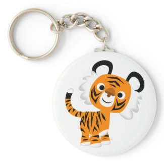 Cute Inquisitive Cartoon Tiger Keychain keychain