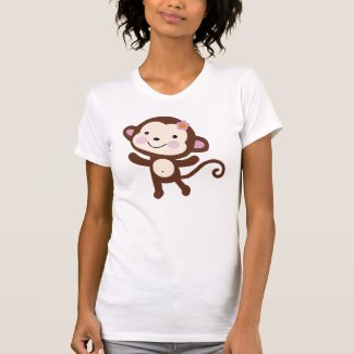 Cute jungle girl monkey tee shirt