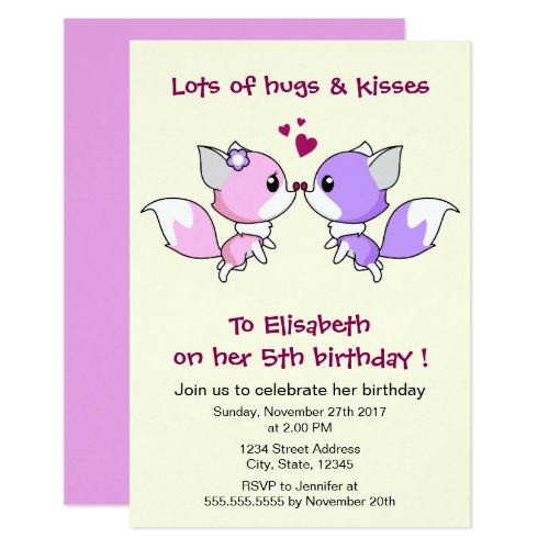 Cute kawaii foxes cartoon girl birthday party invitation