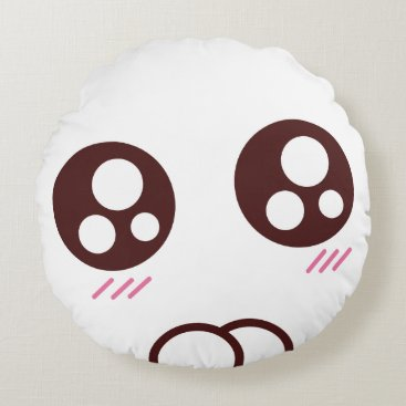Cute Kawaii kitten emoji Round Pillow