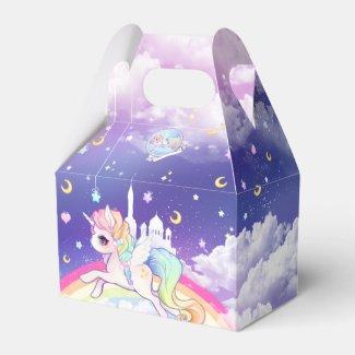 Cute kawaii pastel unicorn with rainbow galaxy favor boxes