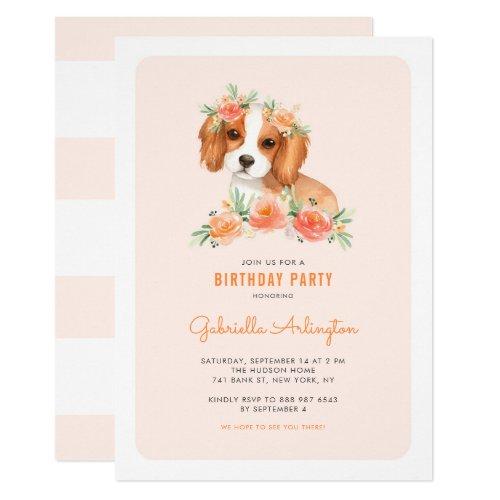 Cute King Charles Spaniel Peach Floral Birthday Invitation