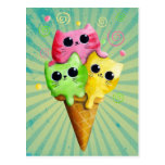 ❤️ Cute Kitty Cat Ice Cream Postcard