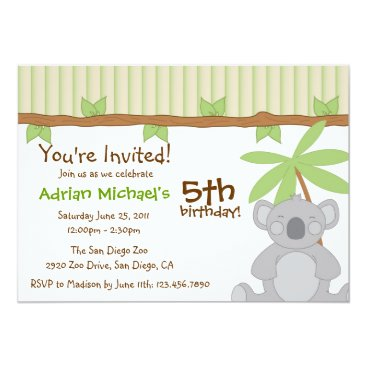 Cute Koala Party Invite