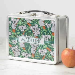 Cute Koala Pattern Personalized Hunter Green Metal Lunch Box