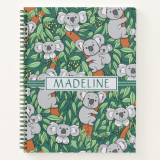 Cute Koala Pattern Personalized Hunter Green Notebook