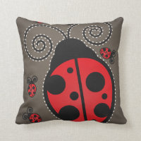 Cute Ladybug American Mojo Throw Pillow