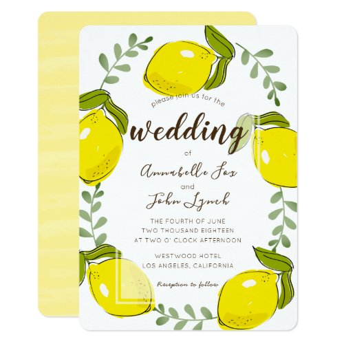 Cute Lemon Citrus White Wedding Invitation